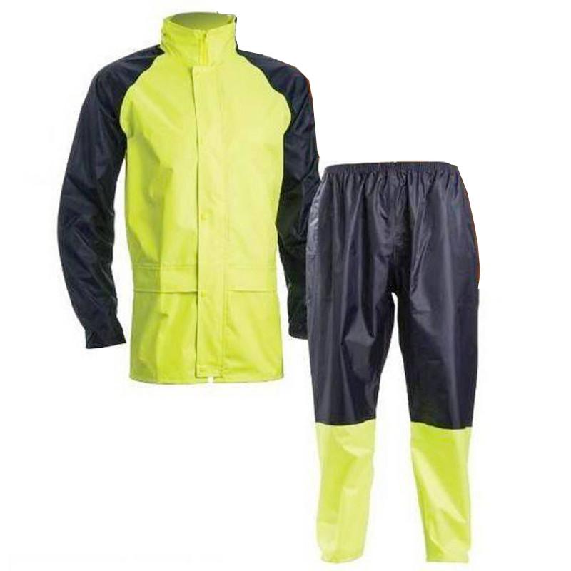 Ensemble de pluie polyamide souple et imperméable haute visibilité jaune