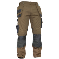 MAGNETIC Pantalon bicolore polycoton multipoches marron gris