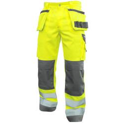 GLASGOW Pantalon de travail haute visibilité poches genoux jaune gris