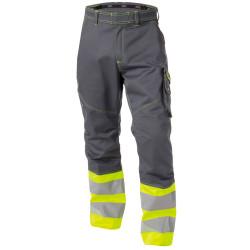 PHOENIX Pantalon de travail haute visibilité multipoches gris jaune