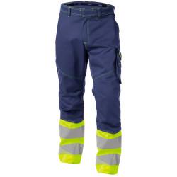 PHOENIX Pantalon de travail haute visibilité multipoches marine jaune