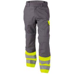 LENOX Pantalon de travail haute visibilité multirisques gris jaune