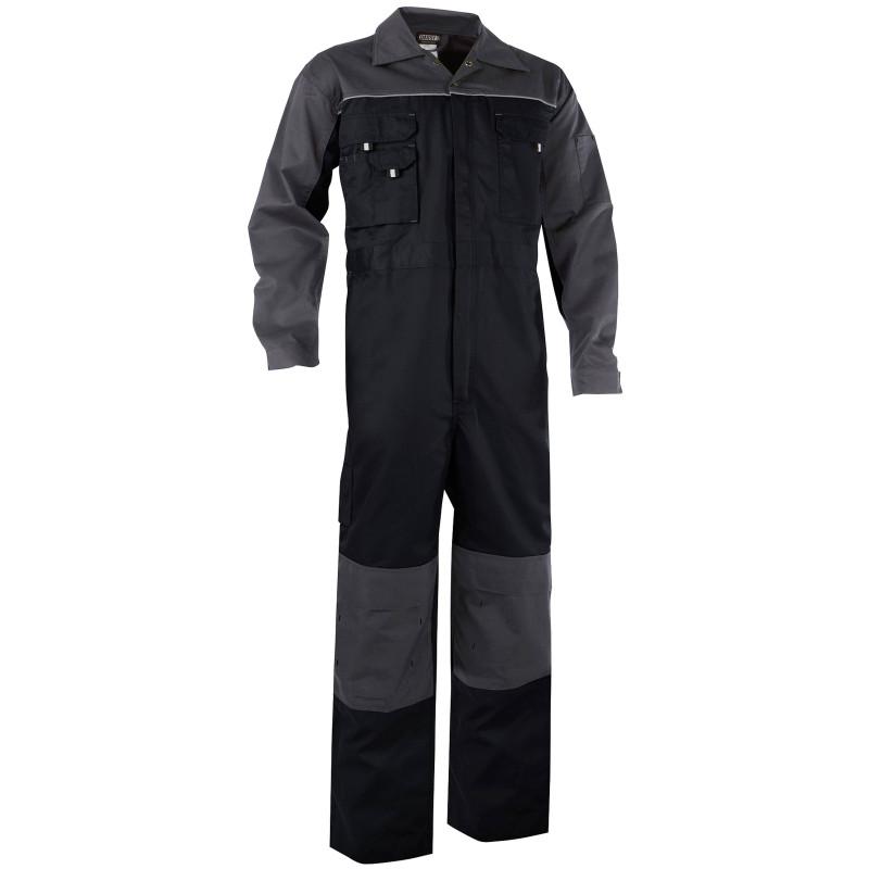 CANNES Combinaison de travail bicolore avec poches genoux Noir/Gris