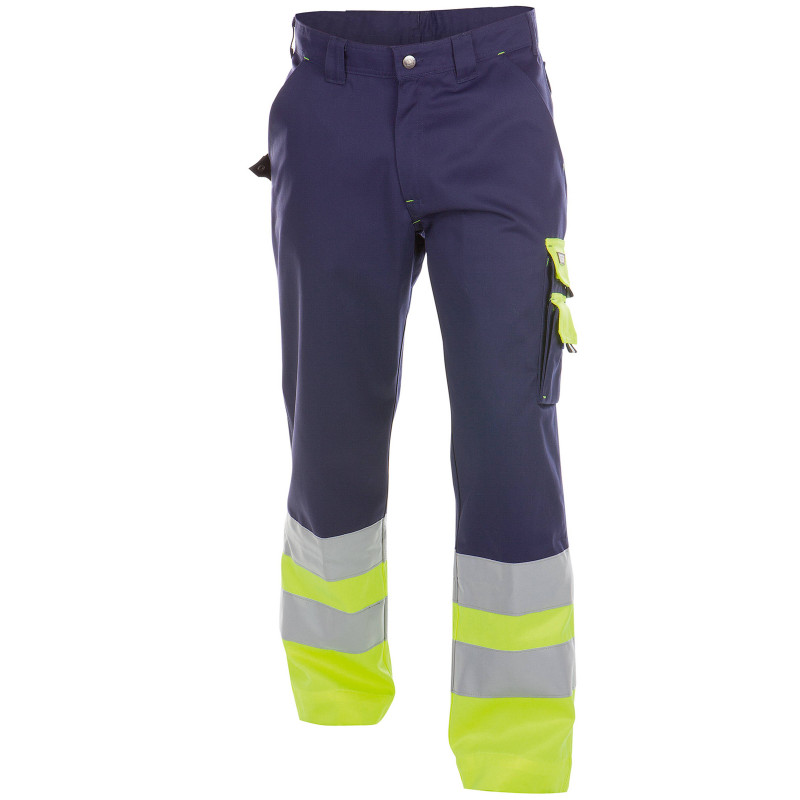 OMAHA Pantalon de travail haute visibilité polycoton marine jaune