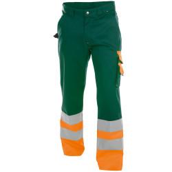 OMAHA Pantalon de travail haute visibilité polycoton vert orange