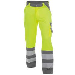 LANCASTER Pantalon de travail haute visibilité multipoche jaune gris
