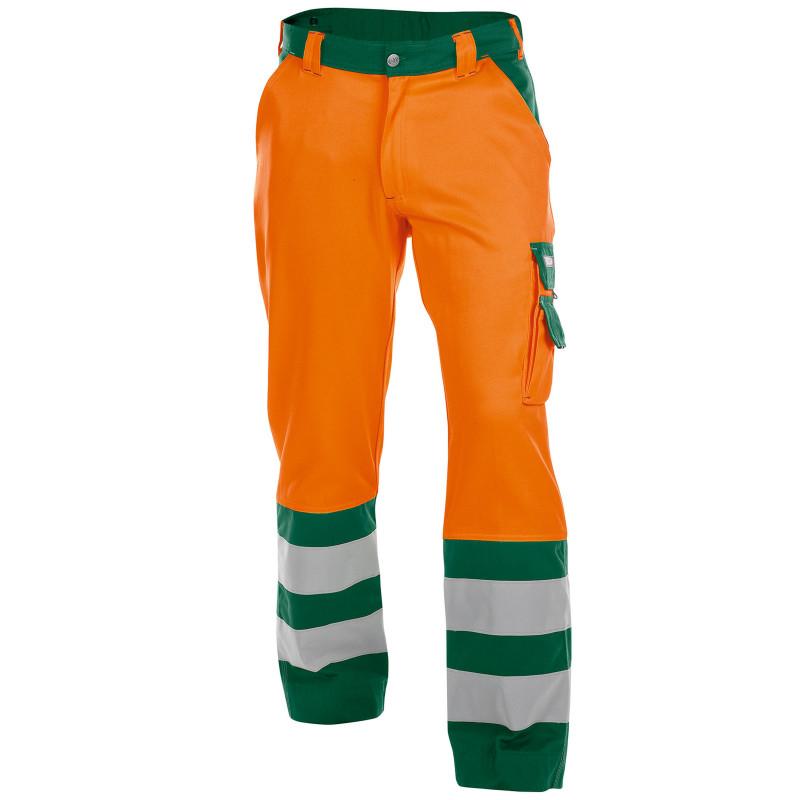 LANCASTER Pantalon de travail haute visibilité multipoche orange vert
