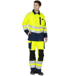 ROADY Pantalon de travail haute visibilité multipoche jaune marine