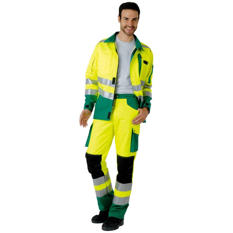 ROADY Pantalon de travail haute visibilité multipoche jaune vert