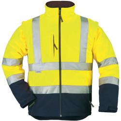 STATION Veste de travail chaude softshell manches amovibles haute visibilité jaune marine