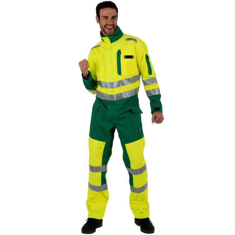 ROADY Combinaison de travail haute visibilité en polycoton jaune vert