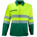 VISION 2 Veste de travail haute visibilité polycoton vert jaune