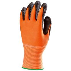 Lot de 10 paires de gants EUROFLEX haute visibilité nylon orange latex noir crêpé