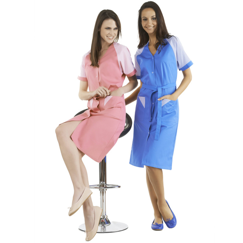 ULYSSE Blouse de travail femme multipoche et manches courtes rose et bleu