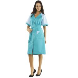ULYSSE Blouse de travail femme multipoche et manches courtes vert