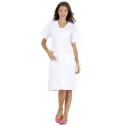 LAURENE Blouse médicale couleur femme manches courtes blanc
