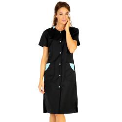 ROXANE Blouse de travail femme à manches courtes noir azur