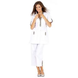 ALBANE Tunique de travail femme manches transformables blanc taupe