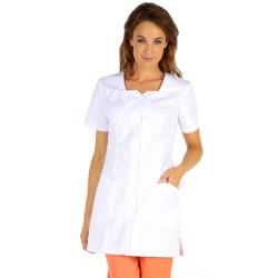 CLEMENCE Tunique de travail femme à manches courtes blanc