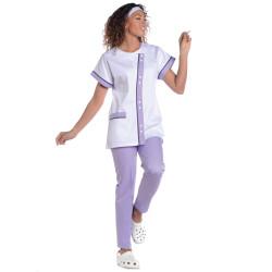 ELODIE  Tunique médicale femme blanc lilas