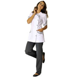ORIANE Tunique medicale femme blanc perle