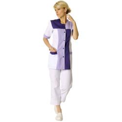 PERRINE Tunique medicale femme blanc purple