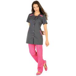 DEBORHA Tunique de travail femme à manches courtes charbon framboise