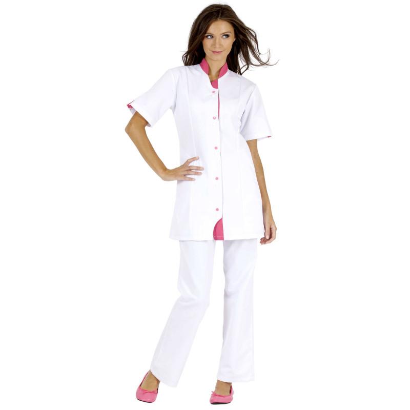 CLOTHILDE TUNIQUE de travail manches courtes blanc framboise