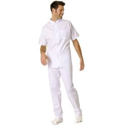 STEEVE Tunique médicale manches courtes homme fermeture pressions  blanc