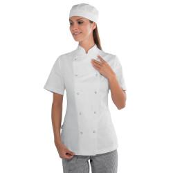 Veste de cuisine femme en coton à manches courtes