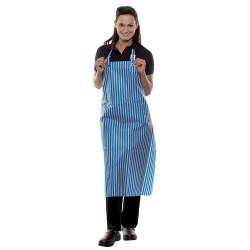 SPAIN Tablier à bavette raye en coton bleu blanc