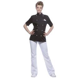 PAULINE Veste de cuisine femme manches courtes coton noir