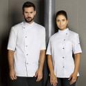 GRETA Veste de cuisine femme manches courtes blanc