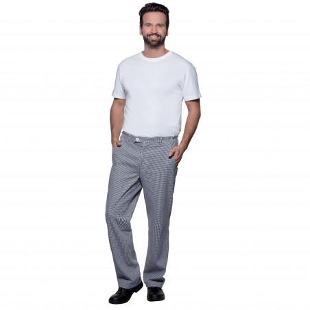 BASIC Pantalon de cuisine homme noir et blanc en coton