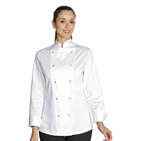 Veste de cuisine femme coton ESMERALDA manches longues
