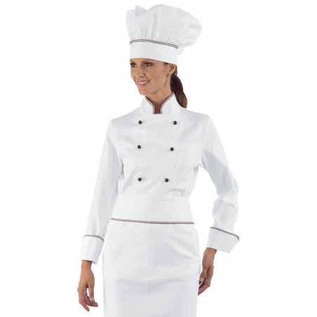 Veste de chef cuisinière coton LADY ITALY femme manches longues