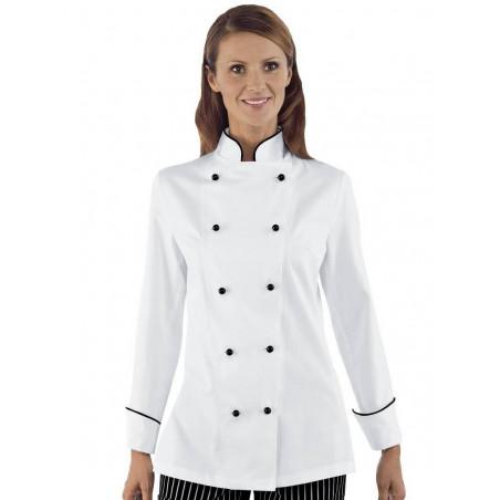 Veste de chef cuisinière coton LADY GRANCHEF femme manches longues