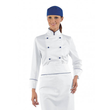 Veste de chef cuisinière coton BLUE CHEF femme manches longues