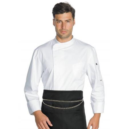 MADISON Veste de cuisine manches longues blanche coton