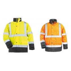 ROADWAY Parka de travail chaude polyester doublée matelassée haute visibilité