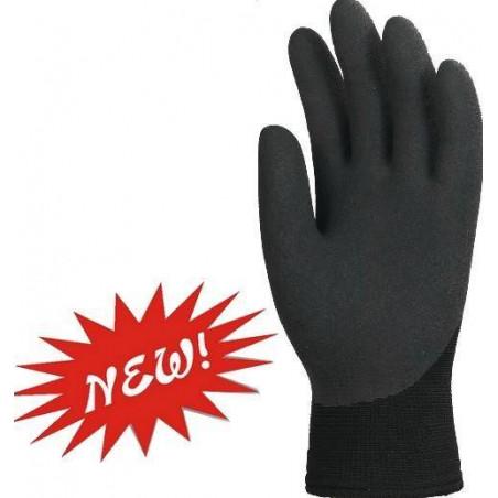Lot de 10 paires de gants EUROWINTER enduit latex noir, dos aéré