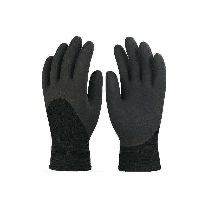 Lot de 10 gants EUROWINTER enduit latex noir, dos aéré