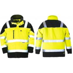Parka de travail chaude softshell jaune/noir respirante haute visibilité