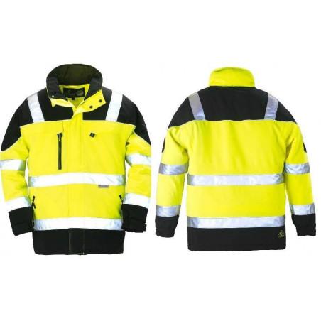 TELEPORT Parka de travail chaude softshell jaune/noir respirante haute visibilité