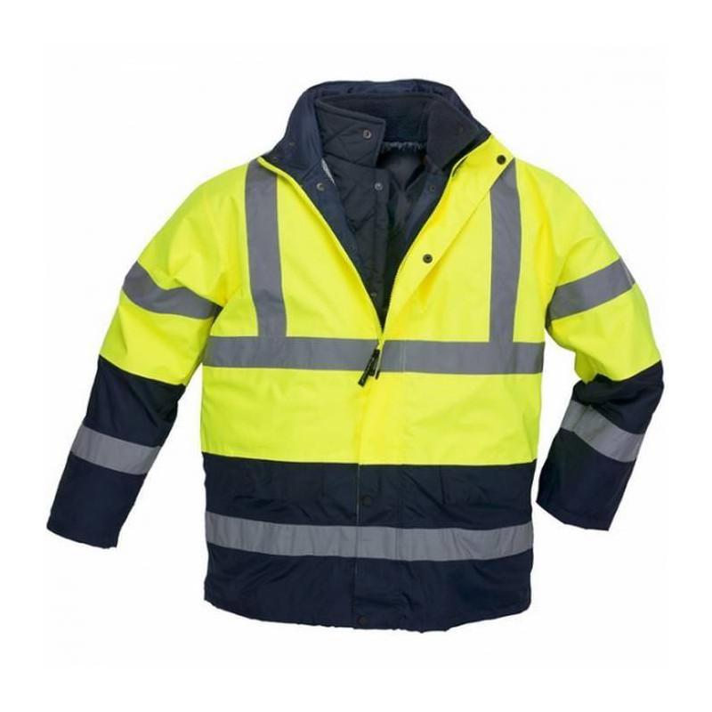 ROADWAY Parka de travail chaude polyester matelassée multipoches 3 en 1 haute visibilité
