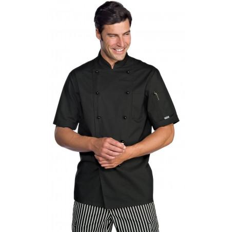 EXTRA LIGHT Veste de chef de cuisine manches courtes couleurs polycoton ISACCO