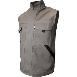 TYPHON gilet de travail coton/polyester multipoches olive