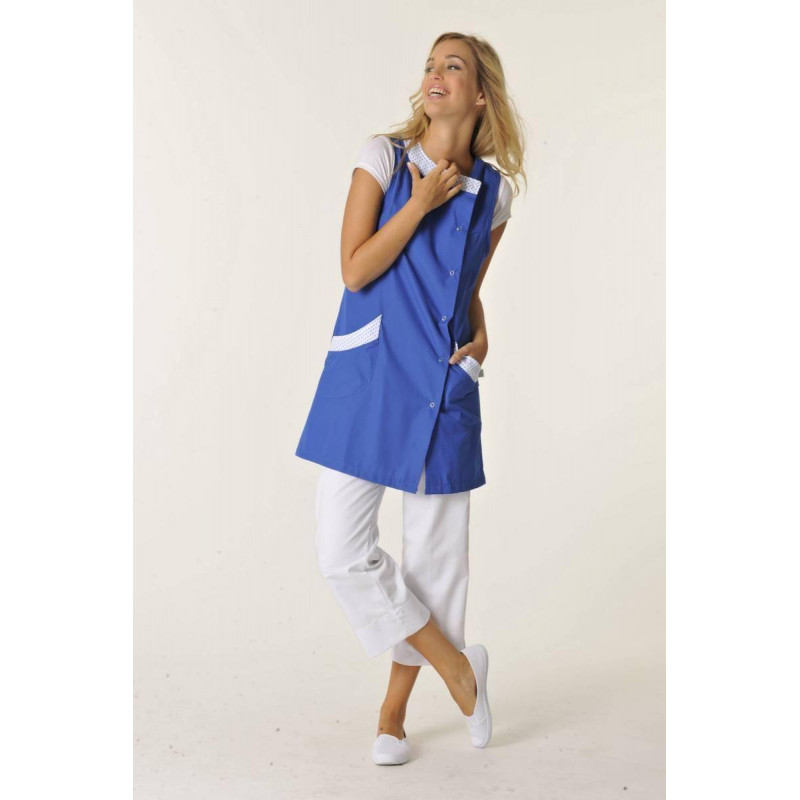 Tunique médicale femme sans manches bleu / pois bleu WINNIE