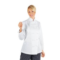 LADY CHEF Veste de cuisine femme 100% coton blanche manches longues