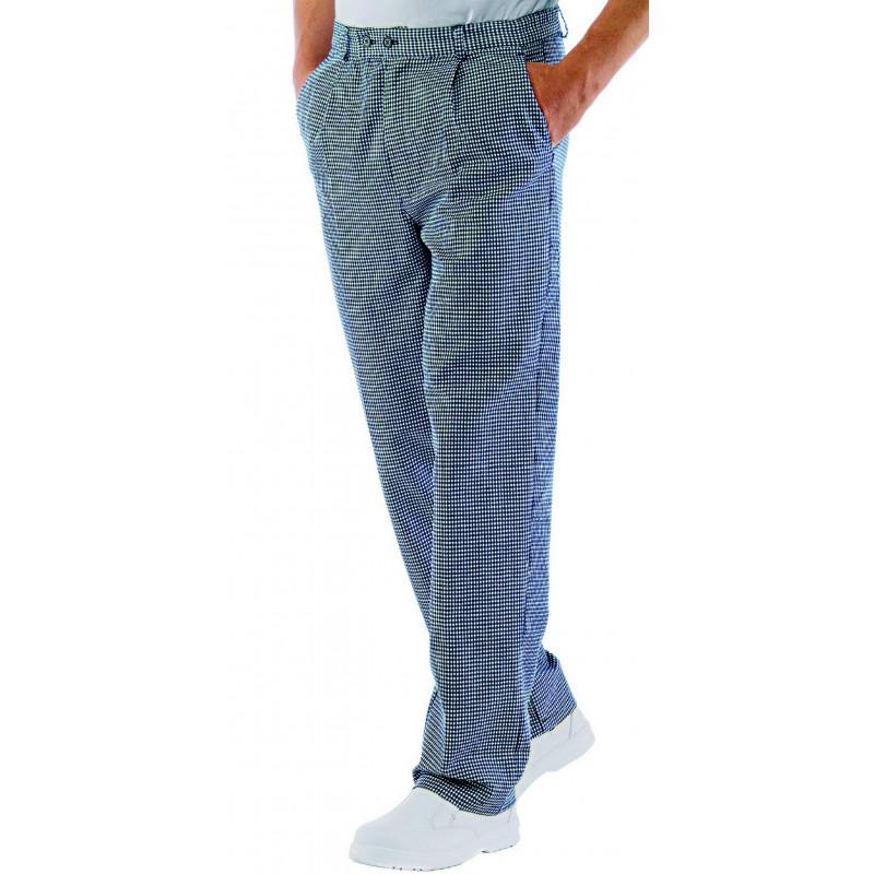 CUOCO Pantalon de cuisine pied de poule en coton